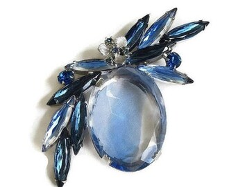 Blue Givre Glass & Rhinestone Brooch Large Vintage