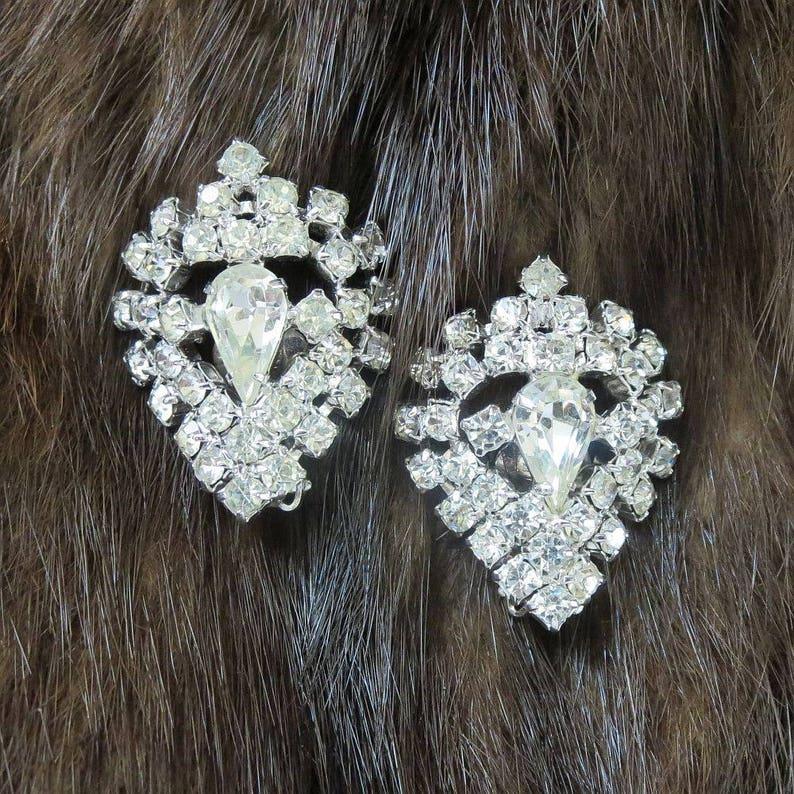 Pave Clear Rhinestone Domed Earrings Vintage Wedding Bridal