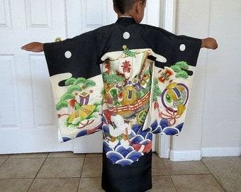 Japanese Ceremonial Kimono Vintage Boy's with Treasure Ship and Karako Divine Being