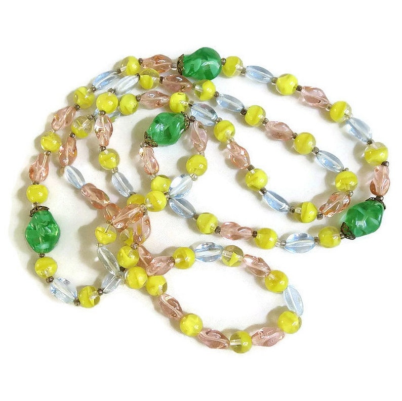 Long Pastel Pink Green and Yellow Glass Beads Necklace Vintage Blue