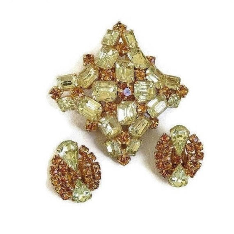 Citrine /& Golden Topaz Rhinestone Brooch and Earrings Set Vintage