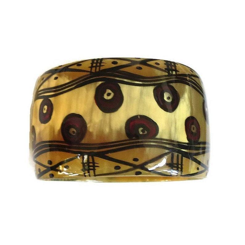 cb9016fde89 Wide Hand Painted Horn Bangle Bracelet Vintage Tribal Ethnic | Etsy