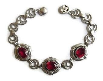 Art Deco Red Rhinestone Bracelet with Silver Tone Links Vintage