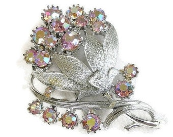 Vintage Flower Brooch Pink Aurora Borealis Rhinestone signed Coro