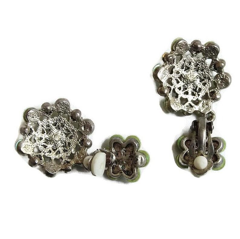 Dangle Filigree Earrings Lime Green Rhinestones /& Sequins Vintage