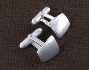 Sterling Silver Cufflinks Curved Tapered CL7