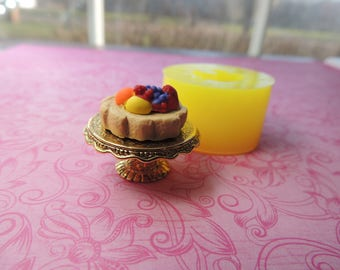 Tiny Cake Mold, Tiny Berries, Dollhouse Food, Tiny Food, Cake Cabochon Mold, Miniature Cake, Resin Cookies Mold Polymer Clay Mold, Tart Mold