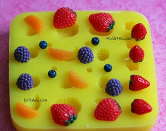 Silicone Strawberry Mold Orange Blackberry Mold Fruit Mold Resin Mold Fondant Sugar Wax Soap Baking Polymer Clay Mold