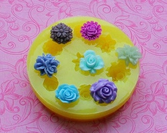 Silicone Flower Mold Mum Lilly Rose Leaf Fondant Mold Chocolate Resin Cabochon Molds Jewelry Polymer Clay Baking Resin Mold