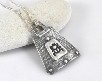 Egyptian Scarab Pendant in Fine silver with Sterling Silver Chain