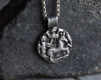 Super Simple Silver Necklace in Ancient Coin Fragment