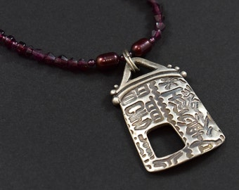 Asian Temple Pendant Necklace in Silver with Garnets and Pearls