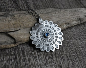 Mandala in Sterling Silver with Blue Spinel Gemstone