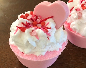 Pink Cherry Cupcake Bath Bomb with Cherry Heart Soap Valentine's Day Romantic Gift