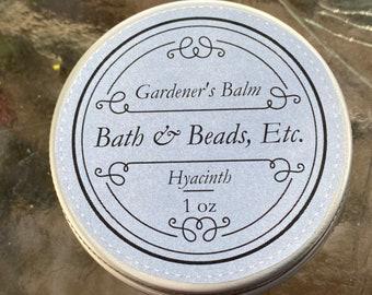 Hyacinth Gardener's Balm Natural Ingredients in Reuseable Tin
