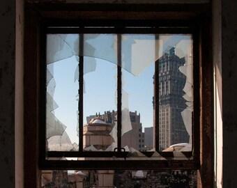 """Detroit photography, abandoned building, art print, skyline, downtown detroit photo, landscape, cityscape, """"Fragmented Detroit"""""""