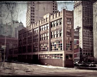 """Detroit Architecture digital art, Neglected Beauty, cityscape """"Pie Slice"""""""
