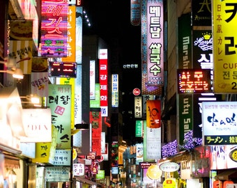 """Seoul, South Korea market photograph, exterior architecture, night light signs colorful wall art, cityscape """"Heightened Senses"""""""