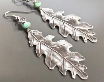 Gifts For Her Oak Leaf Hammered Brass Drop Earrings Forrest Earrings Lightweight Earrings Holiday Gift. Plant Lady Earrings
