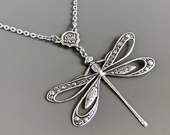 Silver Cutout Dragonfly Necklace - Dragonfly Jewelry, Gift for Woman, Birthday Gift, Graduation, Nature Jewelry, Gift for Woman, Teen Girl