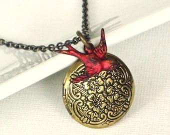 Red Bird Locket Necklace, Cardinal, Keepsake Jewelry, Brass Locket, Bird Jewelry, Bird Gift, Gift for Woman, Nature Gift, Small Locket