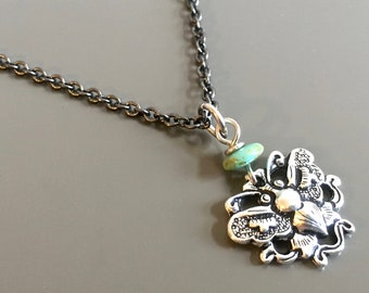 Small Butterfly Necklace - Silver Butterfly,  Butterfly Jewelry, Nature Jewelry, Turquoise Necklace, Garden Jewelry, Gift  for Woman, Girl