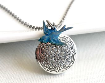 Blue Bird Locket Necklace - Blue Bird Necklace, Small Locket Necklace, Silver Locket Necklace, Keepsake Necklace