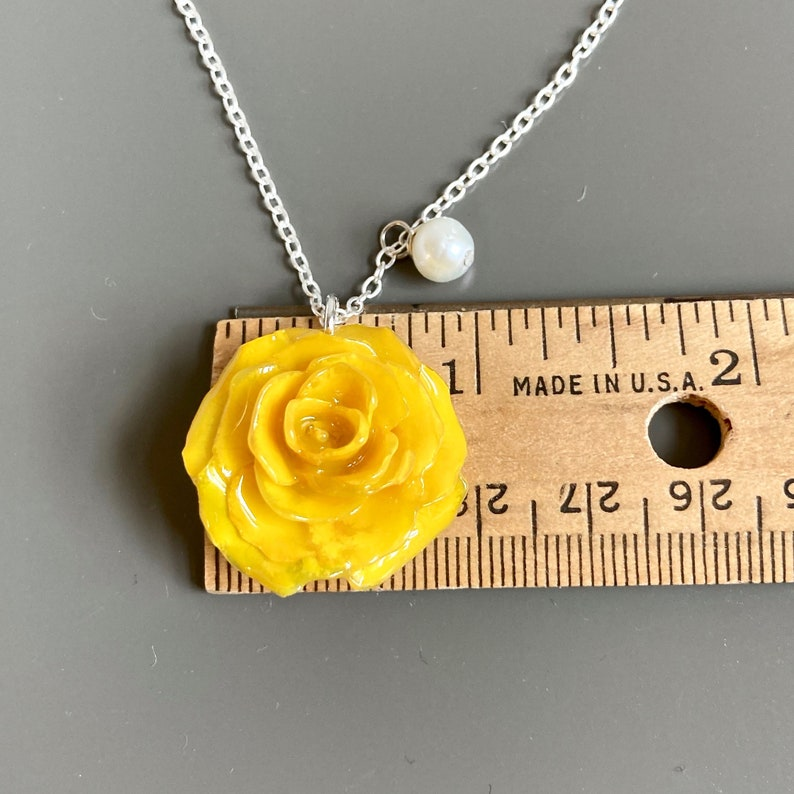 Warm yellow color rose Rose petal pendant Real flower and resin necklace One-of-a-kind gift for nature lovers Gift for her Nature inspired
