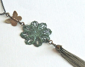 Long Tassel Necklace - Patina, Jewelry, Filigree Medallion, Butterfly Necklace, Tassel Jewelry