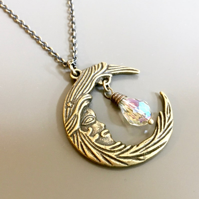 collier homme lune