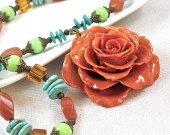 Large Real Rose Necklace - Orange Rose, Turquoise Necklace, Real Flower Jewelry, Nature Jewelry, Statement Necklace, Southwest Colors