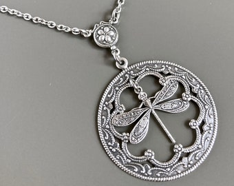 Silver Dragonfly Necklace -  Pendant, Dragonfly Jewelry, Nature Jewelry, Gift for Woman, Birthday Gift, Bridesmaid Gift, Garden Jewelry