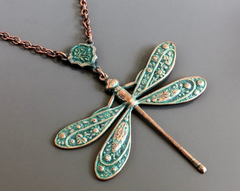 Teal Copper Dragonfly Necklace - Patina Necklace, Dragonfly Jewelry, Dragonfly Gift, Gift for Woman, Turquoise and Copper, Gift for Teen