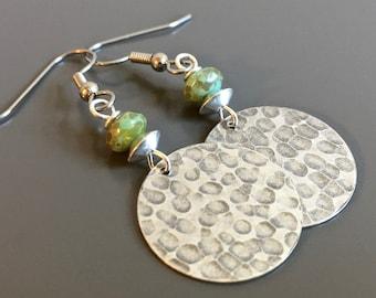 Silver Hammered Earrings - Boho Earrings, Turquoise and Silver, Lightweight Earrings, Disk Earrings, Gift for Woman, Birthday, Graduation
