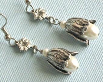 Pearl Silver Flower Bud Earrings - Pearl Earrings, Floral Jewelry, Nature Jewelry