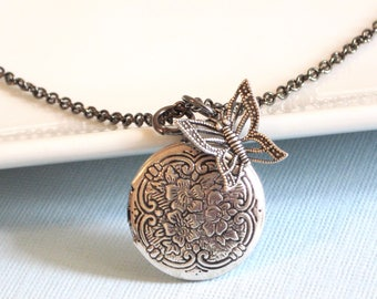 Small Silver Locket  Butterfly Necklace - Locket Necklace, Keepsake Jewelry, Nature Jewelry, Gift for Woman, Teen, Girl, Birthday, Christmas