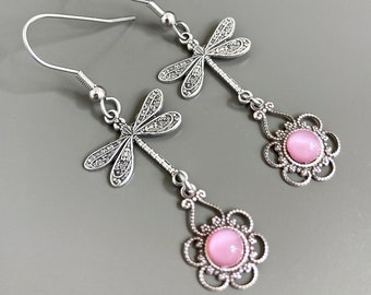 Silver Dragonfly Earrings - Pink Earrings, Filigree Earrings, Dragonfly Jewelry, Dragonfly Gift, Nature Gift, Nature Jewelry, Gift for Woman