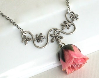 Real Pink Rosebud Necklace - Real Flower Jewelry, Nature Jewelry, Rose Necklace