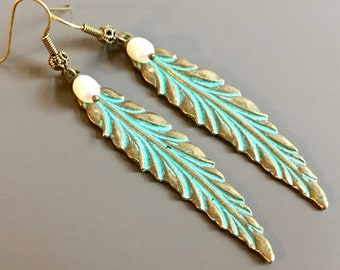 Feather Earrings - Patina Jewelry, Boho Earrings, Pearl Earrings, Long Earrings, Lightweight Earrings, Feather Jewelry, Gift for Woman