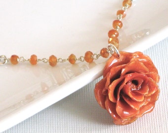 Real Orange Rose, Carnelian Necklace - Sterling Silver, Tangerine, Gift for Woman, Rose Gift, Birthday Gift for Woman, Botanical Jewelry