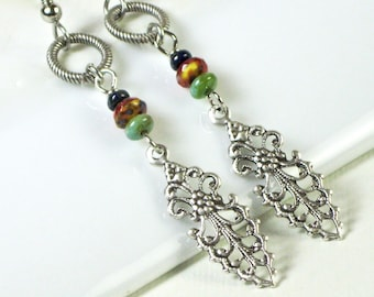 Silver Filigree Earrings - Boho Earrings,  Silver Earrings, Lightweight Earrings