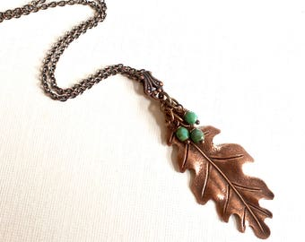 Copper Oak Leaf Necklace - Turquoise Necklace,  Leaf Jewelry, Nature Jewelry, Botanical Jewelry, Woodlands Jewelry
