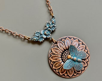 Sunflower Necklace - Butterfly Necklace, Botanical Jewelry, Patina Jewelry, Flower Jewelry, Garden Necklace, Gardener Gift, Gift for Woman