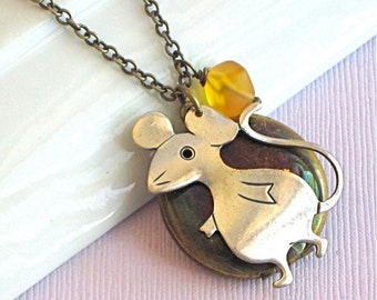 Mouse Locket Necklace - Silver Brass