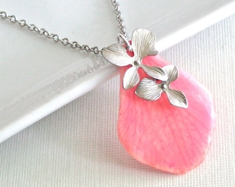 Real Orchid Petal Necklace - Pink, Sterling Silver, Real Flower Jewelry, Nature Jewelry