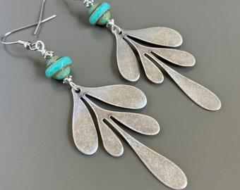 Boho Earrings - Silver Leaf Earrings, Long Earrings, Turquoise, Lightweight Earrings, Gift for Woman, Birthday Gift, Graduation Gift