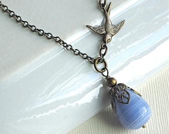 Blue Teardrop Bird Necklace - Glass Teardrop, Brass Bird Necklace, Nature Jewelry, Gift for Woman, Birthday, Teacher, Bridesmaid