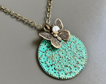 Dogwood  Medallion Necklace - Flower Necklace, Patina Jewelry,  Botanical Jewelry, Flower Gift, Nature Gift, Gift for Woman, Mothers Day