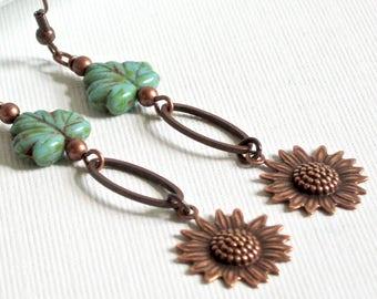 Sunflower Earrings, Copper Earrings, Czech Earrings, Leaf Earrings, Flower Earrings, Botanical Jewelry, Flower Jewelry, Turquoise Earrings
