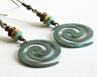 Boho Spiral Earrings - Patina Earrings, Turquoise Earrings, Lightweight Earrings, Verdigris Earrings, Patina Jewelry